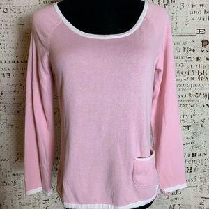 J. Jill Pullover sweater drawstring waist SP Pink